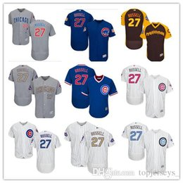 68d6f2c66 custom Men women youth Majestic Chicago Cubs Jersey  27 Addison Russell Home  Blue Grey White Baseball Jerseys