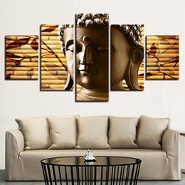 Art Canvas Prints Australia - Modern HD Framework Wall Art Printed Painting Poster Canvas Pictures 5 Panel Portraits Buddha Modular Home Living Room Decoration