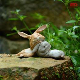 Collection Bunny Rabbits Resin Fairy Garden Miniatures Gnome Moss Terrarium  Craft Bonsai Home Decor For Easter Day Gift