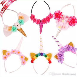 20 Estilo Rainbow Unicorn Chifre Hairband Crianças Chiffon Unicorn Headband Glitter Hairband Bônus de Páscoa para o Presente Do Partido Acessórios Para o Cabelo em Promoção