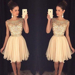 Discount little grils dress 2019 Gold Beaded Cocktail Dresses Short A Line Cap Sleeve Homecoming Dresses Grils Prom Party Wear Gowns
