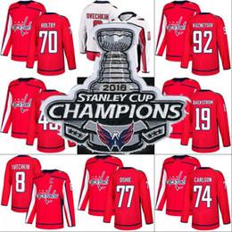 f07f8ffe 2018 Stanley Cup Champion Patch Alex Ovechkin Tom Wilson Braden Holtby T.J.  Oshie Evgeny Kuznetsov Washington Capitals Hockey Jerseys