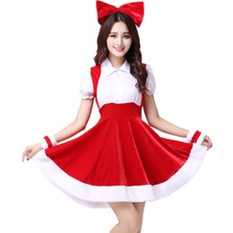 halloween costume santa Australia - Adult Female Santa Claus Christmas Apparel Halloween Costume Performance Clothing Women Dress Sweet Sexy Red Stage Dress