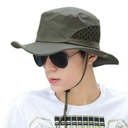 Men Fishing Hat Mesh Summer Fishing Hat Wide-Brimmed UV Protection Flap Breathable  Beach Hat 5dc1ab71df81