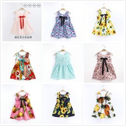 $enCountryForm.capitalKeyWord Canada - Summer Girls Parenting Full Flowers Printing Tied rope Korean Style Cotton High-end Boutique Sleeveless Vest Dress 24 Designs