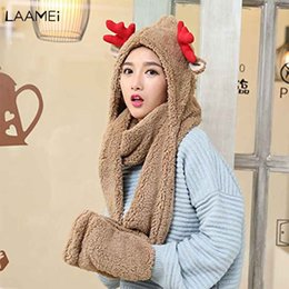 9fb7fbd0 Laamei Gloves Scarf Three-Piece Fashion Plush Thicken Ladies Christmas Deer  HatsWarm Women Scarves Hat Set