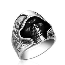 Discount skull rings - Cool Black Death Skull 316L Stainless Steel Ring For Man Unique Gothic Punk Retro Sport Biker Skeleton Male Finger Rings