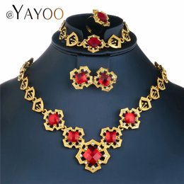 turkish accessories wholesale NZ - AYAYOO Gold Turkish Jewelry For Women Vintage Nigerian Wedding African Beads Jewelry Set Crystal Indian Accessories