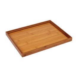 bamboo green tea UK - Eco-Friendly Bamboo Tea Tray Chinese Style Snack Kungfu Tea Board Storage Container Home Hotel Use Gift 28*22CM 1PC