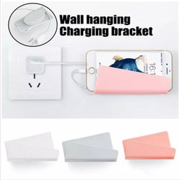 Discount cell phone charger package - New Mobile Phone Wall Charger Hanging Holder Stand Adhesive Bracket Support Charge Hanger Rack Shelf Cell Phone Hook wit