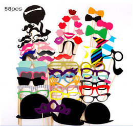 $enCountryForm.capitalKeyWord NZ - 58pcs set Funny Photo Booth Props Hat Mustache On A Stick Wedding Birthday Party Photographic props