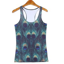 952b740dc5144 Lady Sports Tank Tops Women Sexy Sleeveless T Shirt Clothes Elastic Yoga  Running Vests Camisole Peacock Feathers Digital Print