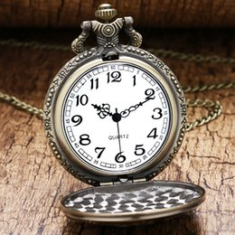 Best Gift For Xmas Australia - Antique Bronze Soviet Sickle Hammer Style Pocket Watch With Necklace Chain Xmas Best Gift For Men Women