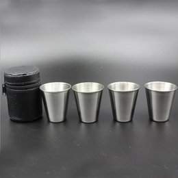 $enCountryForm.capitalKeyWord NZ - Lot4pcs 70ML Stainless Steel Tumbler Shot Glasses Cups With 1 Cup Holder And 1 Bag Wine Great For Bar Beer Whiskey Mug Portable Travel Cup