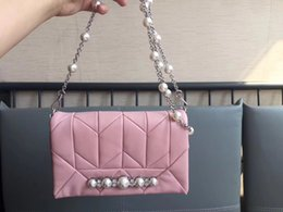 Best White Bags Australia - luxury 2018 women Genuine Leather Diamonds pearl chain Bag MM Famous Brands Designer Fashion best quality ladies shoulder bags free shopping