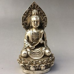 Collectable Handmade Carved Statue Tibet Silver Amulet Pendant Kwan-yin Antiques