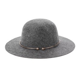 10cf80a5163 Jazz Hat Female UK - Fashionable Women s Wool Fedora Hat with Metal Ring  Vintage Wide Brim