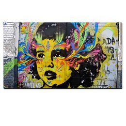 $enCountryForm.capitalKeyWord UK - Graffiti Pop Art Handpainted  HD Print Wall Art Abstract Girl Face Oil Painting on Canvas Multi Sizes  Frame Options g34