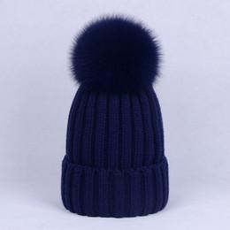 05a4c758f6c Women Fur Pompon Skullies 100% Natural Fox Fur Pompom Hats Caps Real Pom  Poms Big Ball Pompon for Skullies Accessories