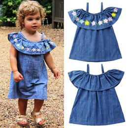 f2385c491e Kids baby girls off-shoulder flower denim dress suspender princess dress  vestido children girl clothes sundress kid clothing 1-5T