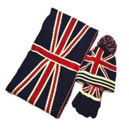 Cashmere beanies online shopping - Winter Warm Hats Scarf Glove Set Man Women Fashion Accessories British Flag Knitted Crochet Cap Beanie Ski Hat Ball Christmas Gift ke bb