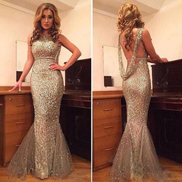 $enCountryForm.capitalKeyWord Australia - Gold Sequined Mermaid Prom Dresses Jewel Neck Backless with Beads Tiered Bottom Evening Party Gowns Floor Length Vestidos De Fiesta