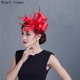 $enCountryForm.capitalKeyWord NZ - Mingli Tengda Red Bridal Hats Feather Bridal Headdress Linen Headdress Wedding Hats and Fascinators for Woman Party Wedding Hat Veil 2018