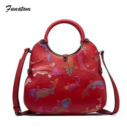 Fish Bucket NZ - fashion women genuine leather handbag female national fish prints vintage shoulder bag new design bucket bag messenger