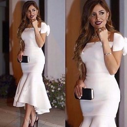 $enCountryForm.capitalKeyWord NZ - Long Arabic Style Evening Dresses 2018 New Hot Sexy Boat Neck Saudi Arabia Bow Dubai Mermaid White Women Formal Evening Gowns
