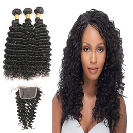 $enCountryForm.capitalKeyWord Australia - Grade 9A Malaysian Virgin Real Human Hair Bundles 3 Bundles With Free Part Deep Wave Closure Free Shipping