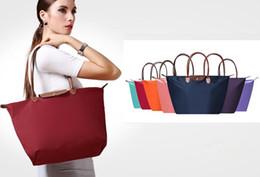 Long shop bags online shopping - Hot sale Women Beach Bags Shoulder Mummy Women Handbag WaterProof Nylon Folding Tote Long Large Capacious Shopping Champagne Bag