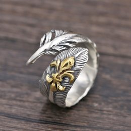 $enCountryForm.capitalKeyWord Canada - Brand new 925 sterling silver designer jewelry vintage hand-made feather shape unique adjustable open men's ring New Year gift free shipping