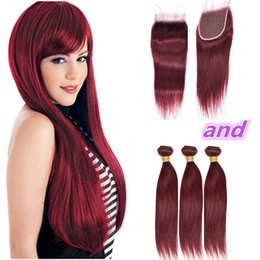 Discount red straight hair extension - Malaysian Wine Red Human Hair 3 Bundles Deals with Closure Straight #99J Burgundy Red Hair Weave Extensions with 4x4 Lac