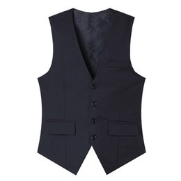 China Pure cot high-quality goods High-end wedding dress and groom pure color suit vest Men Black grey slim business suits vest Male cheap pure purple wedding dresses suppliers