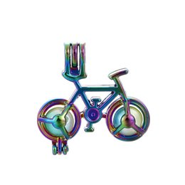 Chinese  10pcs Rainbow Color Bicycle Pearl Beads Cage Essential Oil Diffuser Locket Charms Pendant DIY Jewelry Making for Oyster Pearl Gifts manufacturers