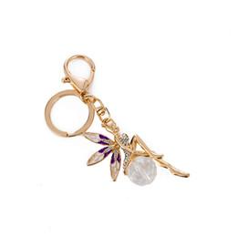 Angels Figures Australia - Charm Crystal Figure Angel Key Chain Bag Accessories Metal Key Chain Flower Fairy Pendants Car Ring Gift
