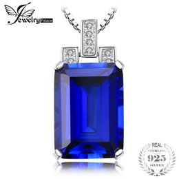 Sapphire Pendants Australia - JewelryPalace Luxury Emerald Cut 9.4ct Created Blue Sapphire Pendant Genuine 925 Sterling Silver Jewelry Women Without Chain