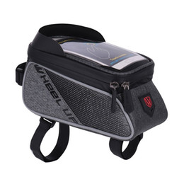 China WHEEL UP Bike Front Top Tube Bag Rainproof MTB Road Cycling Bag 6.0 Inch Touch Screen Bike Cell Phone Case with Visor supplier cycle visors suppliers