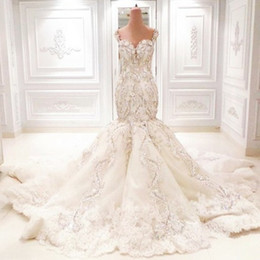 amazing plus size wedding dresses UK - Amazing Dubai Mermaid Wedding Dresses Luxury Crystal Rhinestone Sweetheart Lace Appliques Wedding Gown Gorgeous Saudi Arabia Wedding Dress