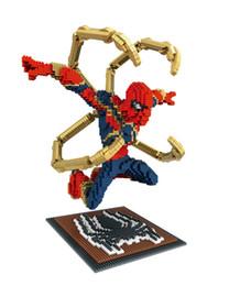 Spiderman Block Figures Australia - Fight model Captain America nano blocks strong Ironman spiderman model figures plastic diamond black panther blocks super hero bricks toys