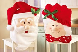 Indoor Chairs Australia - Santa Claus Mrs. Claus Cap Chair Covers Christmas Dinner Table Decoration for Home Chair Back Cover Decoracion Navidad