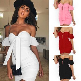 Red White Formal Pencil Dresses NZ - Elegant Women Dress Office Lady Formal Party Evening Clubwear Sheath Tunic Pencil Dress Summer Strapless Women Clothes Sexy