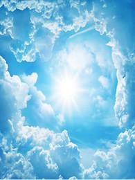 SunShine houSe online shopping - 3d bathroom wallpaper Fantastic d blue sky white clouds sunshine sky landscape zenith frescoes