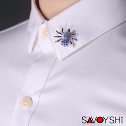 mens brooches NZ - SAVOYSHI Novelty Blue Crystal Spider Shape Men Lapel Pin Brooches Pins Fine Gift for Mens Brooches Collar Party Engagement Wholesale