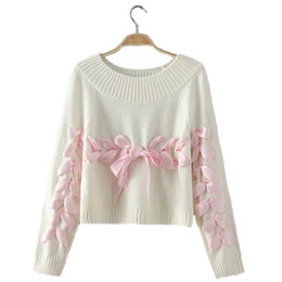 LIVA GIRL Women Bow Ribbon Sweater Young Woman Loose Soft Knitting Sweaters  Jumpers Teenager Lady Christma Sweater Clothes B05 8d57a54b3