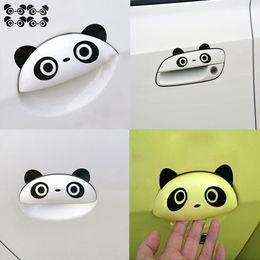 Panda mirror online shopping - 4pcs K DIY Car Doorknob Vinyl Decal Graphics Rearview Mirror Stickers Panda Eyes Car Sticker for Auto Handlebar Cute Reflective