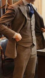 coat tie pants men 2019 - Brown Tweed Men Suit Latest Coat Pant Designs 3 Piecse(Jacket+Pants+Vest+Tie) Slim Fit Custom Made Groom Prom Blazer che