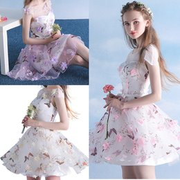 Tulle flower girl dress sheer back online shopping - Colorful D Flower Short Prom Dresses Butterfly Printed Cap Sleeve Transparent Neck Girls Mini Homecoming Party Dress Pageant Gowns