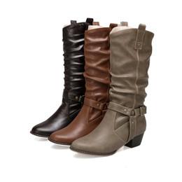 fbd1c0ebe4 botines de media pierna de la vendimia de las mujeres del estilo occidental  del vaquero del tacón grueso botines puntiagudos descuidados del dedo del  pie ...