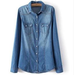 6dda4a8b11a Womens Shirt Top denim Shirts and Blouses Long Sleeve Snap Button Cotton  Ladies Shirt Camisa Blusa Camisetas Femininas